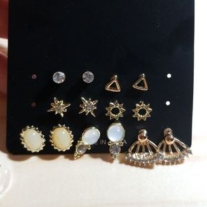 7 piece set earrings triangle and studs